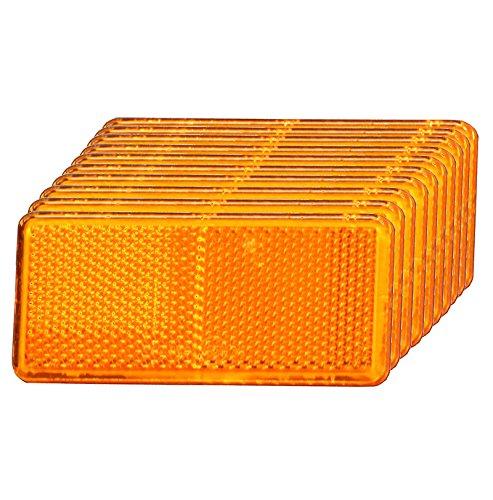 10er - Set | Rückstrahler, Seitenstrahler, Reflektor (orange, rechteckig, 90x40mm) selbstklebend mit E-Prüfzeichen - Im 10er Vorteilspack -