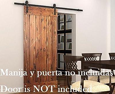 DIYHD 5.5ft Puerta de granero corredera estilo rústico americano puerta de granero corredera de madera para armario puerta granero herraje colgadocon guía rodamientos deslizantes
