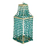 #7: Pure Home + Living Large Decorative Beaded Glass Candle Holder (10 cm x 10 cm x 26 cm, Blue)