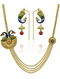 Dancing Girl Bridal Dulhan Maroon Red Green Metal Alloy Necklace Earring Set Jewellery Sets For Women