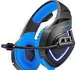 PS4Gaming Kopfhörer mit Weiche Mikrofon LED-Licht für PS4Neuen Xbox One Computer PC Gamer Bass Gaming Headset Audiophony Casque Blau Blau