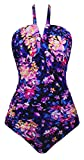 Angerella Retro Non-Underwire Swimsuit Floral Gedruckt Badeanzug Weich Tassen Radiant Bathing Suit Lila 3XL