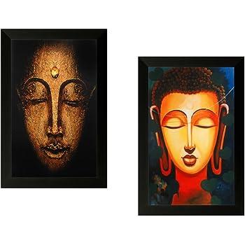 "SAF ""Buddha"" Textured Painting (Synthetic, 35 cm x 50 cm x 2 cm, UV Print, Set of 2, SAAAD129)"