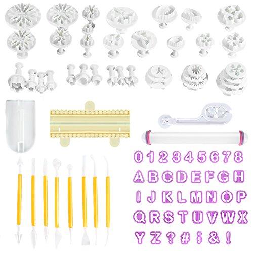 Openuye 88-Teiliges Fondant Ausstecher Set - ABC Buchstaben und Zahlen + Ausstechformen Zum Backen Oder Tortendekorationen - Tortendeko - Modellierwerkzeug-Set - Back-Zubehör