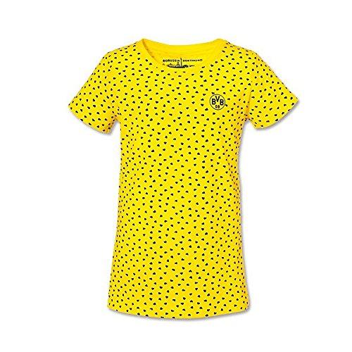 BVB 09 Borussia Dortmund Kinder T-Shirt gelb mit Herzen für Mädchen Gr. 164 Shirt Kindershirt 15214019