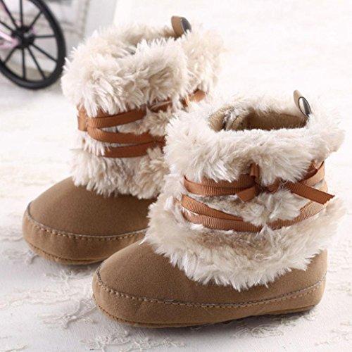 Chaussures de bébé,Transer ® Bébé chaud Bowknot neige semelle molle doux berceau chaussures Toddler bottes Kaki