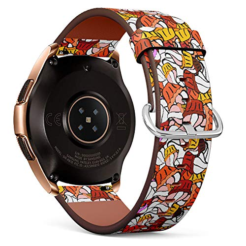 R-Rong kompatibel Watch Armband, Echtes Leder Uhrenarmband f¨¹r Samsung Galaxy Watch 42MM - Pixel Cupcake Pattern