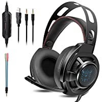 MACTREM Gaming Auriculares PS4 - Combaterwing M190 Professional Auriculares estéreo DE 3.5 mm para PC,