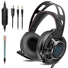 KOTION EACH Auriculares Bluetooth Wireless Headset B3506 Plegable Gaming Headset v4.1 con Microfono para PS4 PC MAC Smartphones Ordenadores(Blanco+Azul)