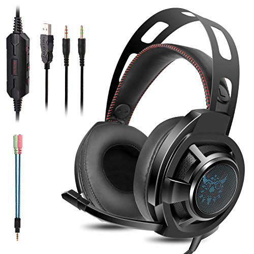 KOTION EACH Auriculares Bluetooth Wireless Headset B3506 Plegable Gaming Headset v4.1 con Microfono para PS4 PC MAC Smartphones Ordenadores(Blanco+Azul)