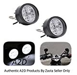 #10: A2D 4 LED Small Handle Mirror Mount AUX Bike Fog Lamp Light Set of 2 White-Yamaha FZ-S Ver 2.0