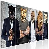 decomonkey Bilder Tiere Abstrakt 225x90 cm XXL 5tlg. Leinwandbilder Bild auf Leinwand Vlies Wandbild Kunstdruck Wanddeko Wand Wohnzimmer Wanddekoration Retro Vintage Wildkatzen Löwen Puma Tiger Mann