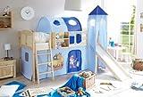 Hochbett mit Rutsche und Turm Spielbett Ekki Landhaus Kiefer massiv Natur mit Farbauswahl, Vorhangstoff:Pirat Hellblau Dunkelblau