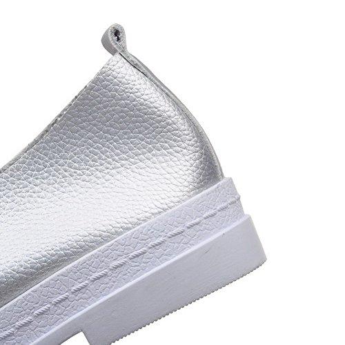 VogueZone009 Damen Rund Zehe Schnüren Niedriger Absatz Pu Leder Rein Pumps Schuhe Silber