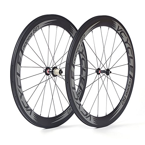 VCYCLE Nopea 700C Carbon Road自行车车轮铆钉机60mm S?O 1595g适用于Shimano或Sram 8 / 9 / 10 / 11 Speed