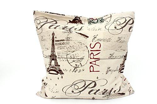 Kissenbezug Aikos 40x40cm Kissenhülle Shabby Vintage Paris Eifelturm Briefmarke French Chic Nostalgie Postkarte Frankreich Kissen alte Schrift Dekokissen