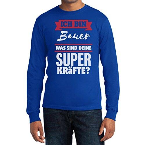 Geschenke für Bauern - Ich bin BAUER Was sind deine Superkräfte? Langarm T-Shirt Blau