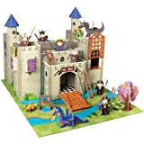 Krooom - Castillo de cartón con accesorios sobre tapete, diseño de caballeros