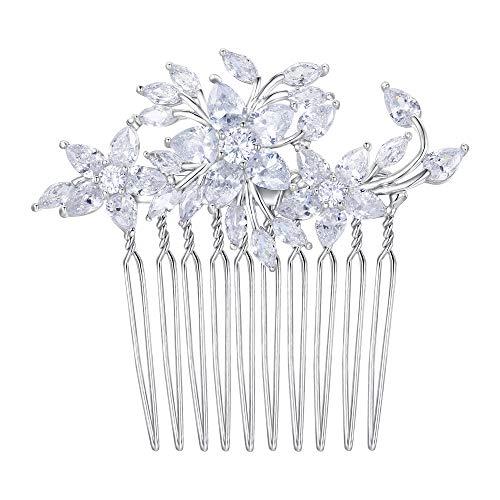 Flyonce Damen Zirkonia Hochzeit Blumen Blumen Haarkamm für die Braut, Brautjungfer klarer Splitter-Ton -