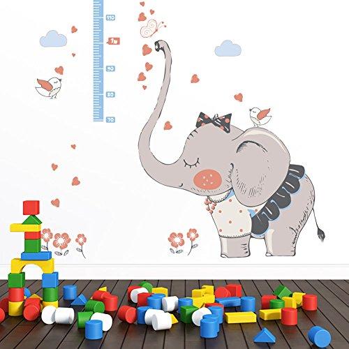 WandSticker4U- Wandtattoo Messlatte Kinder Happy Elefant I | H: 1,8M | Wandsticker Tiere Blumen Schmetterlinge Vogel Wandaufkleber Deko für Babyzimmer Kinderzimmer XL