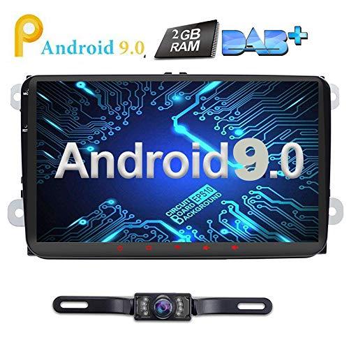 9 Zoll Android 8.0 Autoradio 2 DIN Oreo Quad Core 2 GB Navi Video Player GPS Navigation unterstützt Bluetooth WLAN DAB+ OBD2 für VW Volkswagen Seat Skoda Golf Polo Jetta Passat Touran