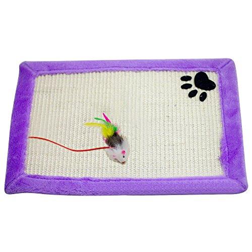 Beetest® 46 x 31cm Animali Gatto Sisal Canapa Graffiare Scratch Teaser Piano Tiragraffi Tappetino Pad con Mouse Giocattoli, Viola