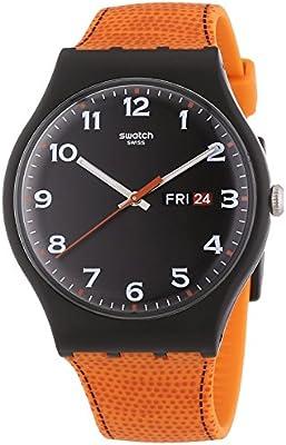Swatch Classic - Reloj de cuarzo unisex, correa de silicona, color naranja