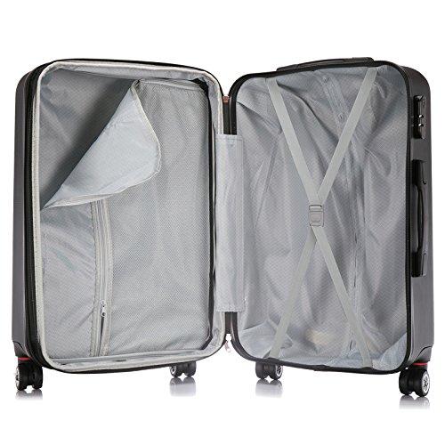 EUGAD Reisekoffer Harschalenkoffer 4 Rollen mit erweiterbaren Volumen Reise Koffer Trolley Hartschale Zwillingsrollen Handgepäck groß M L XL Set , Silber Grau (XL 75 cm & 110 Liter) , RK4216sg-XL - 5