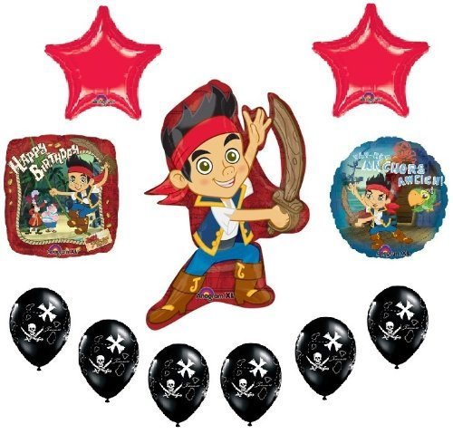 JAKE and the NEVER Land PIRATES 11 Birthday Party Supplies Mylar Latex BALLOONS by LGP (Jake Y Los Piratas Party Supplies)