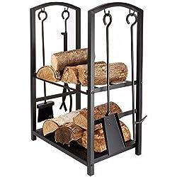 Étagère d'intérieur ou d'extérieur pour le stockage des bûches Homezone® - En métal - Accessoires de la cheminée