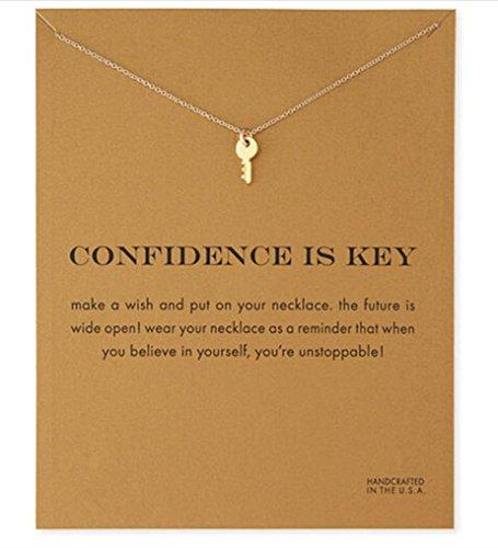 Halskette Schlüssel 'Confidence is Key' Talisman Gold Farbe - mit der Geschenkkarte Schlüssel-halskette