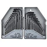 Zerich 30 pieza llave hexagonal conjunto, pulgadas/Metrdic, con plástico caja #29509 (gris)