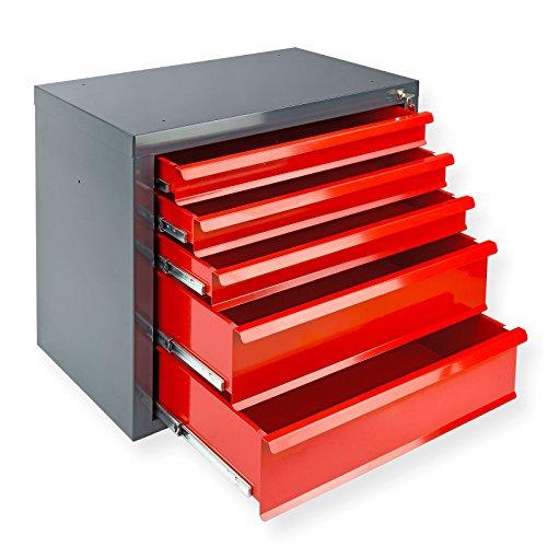 DeTec Metall Schubladenschrank #Fernando# mit 5 Schubladen/Unterschrank / Stahlmagazin, 70x43.5x60...