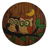 ART-CRAFT KH070 Kinderhocker Holz Schemel mit Motiv Eulen bemalt und beschnitzt extra große Sitzfläche Ø 30cm LxBXH = 30x30x27cm