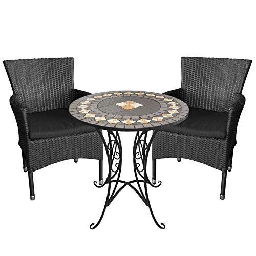 3tlg. Gartengarnitur Mosaiktisch, Ø70cm, Eisengestell, Mosaik aus Keramikplatten + 2X Gartensessel, Polyrattangeflecht schwarz, stapelbar, inkl. Sitzkissen - 2 X 2 Mosaik