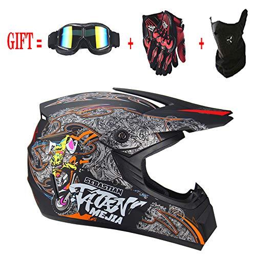 Motocross Helm Mx Motorrad Offroad Roller ATV Helm D.o.t AM Mountainbike Integralhelm Mit Brille/Winddichte Maske/Handschuhe für Erwachsene Jugend Kinder Kinder,Matte,S(55~56CM) (Roller Kinder Für Helm)