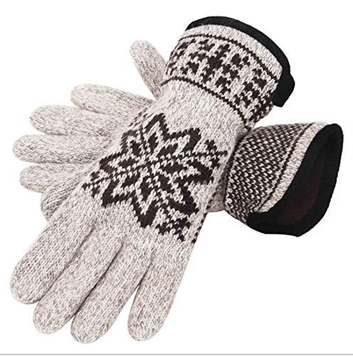 LOUMVE Herrenhandschuhe Wolle Cashmere Knit Winddicht Winterhandschuhe Warme Wear für kaltes Wetter Beige Freie Größe (Glove Knit Cashmere)