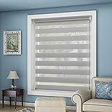 OUBO Doppelrollo Klemmfix Ohne Bohren 90 x 150 cm (BxH) Grau Fenster Duo Rollo mit Klemmträgern 90 cm Breit