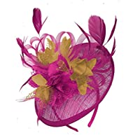 Caprilite Fuchsia Hot Pink and Mustard Sinamay Disc Saucer Fascinator Hat for Women Weddings Headband