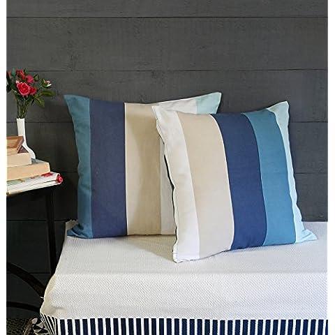 Regalos de Navidad, Cojines de cojin de almohadas decorativas para sofa 18 x 18 Juego de 2 cajas 100% algodon azul rayado diseno Inicio Ropa de cama accesorios