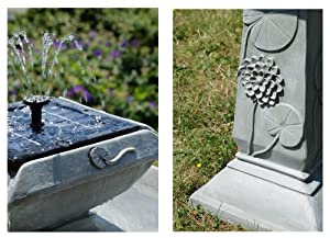 Small Solar Powered Water Feature Grey Resin Spring Lily Bird Bath Fountain PC202