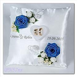 Cojín de boda personalizado, COLOR de las flores a elegir 19x19cm