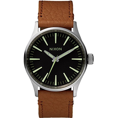 nixon-herren-armbanduhr-xl-sentry-38-black-saddle-analog-quarz-leder-a3771037-00