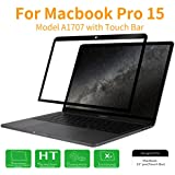 MacBook Pro 15 2017 Screen Protector, HD Clear Anti Scratch Bubble Free Screen Protector For Apple MacBook Pro 15 Inch With Touch Bar(A1707, Released 2016/2017), Black Frame