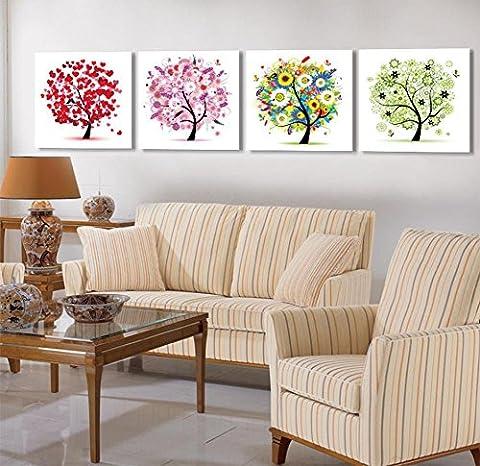 Quadruple peinture peinture décorative frameless les peintures murales chambre salon canapé toile de fond abstrait arbre peinture , 9mm thick , 70*70