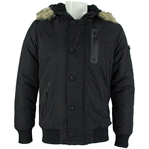 Bellfield Melo Mens Parka Jacket Black Schwarz
