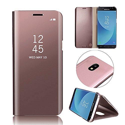 en, MingKun Thin Spiegel Crystal Flip Case Cover für Samsung Galaxy J7 2017 J730 PU Leder Clear View Leder Clear Viewtasche Schutzhülle Plating Mirror Tasche Schale mit Standfunktion Halter - Pink (Spezielle Halloween-2017)