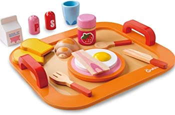 Babytintin Family Wooden Nutrition Breakfast Food Kitchen Pretend Water-Based Paint Educational Toys Set - 16 Pieces