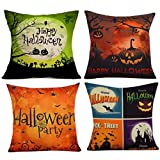 Kissenbezüge Dekorative Case Set Rosennie 4PC Kissenbezug Happy Halloween Kissenbezüge Leinen Sofa Zierkissenbezüge Dekokissen Gedrucktes Stützkissen Pillow Cover für Haus Zimmer Auto (C) -