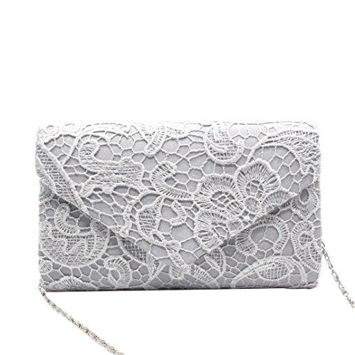 Envelope Clutch, Huhu833 Damen Elegante Blumenspitze Envelope Clutch Abend Prom Handtasche Silber